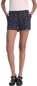 Only Printed Women's Black Boxer Shorts