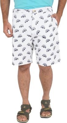 Cub Printed Men's White Bermuda Shorts