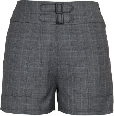 Fabulloso Checkered Women's Grey Basic Shorts