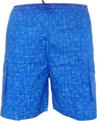 Cottvalley Printed Men's Blue, Black Basic Shorts