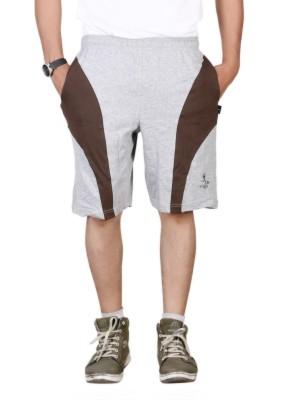 Vego Solid Men,s Grey Bermuda Shorts
