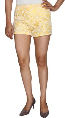 Nuts Clothing Self Design Women,s Yellow, White Hotpants