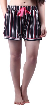 Vixenwrap Striped Women's Black Night Shorts at flipkart
