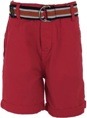 Ice Boys Solid Boy's Red Basic Shorts