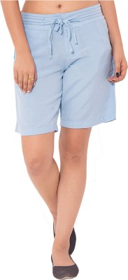 Goodwill Impex Solid Women's Blue Chino Shorts