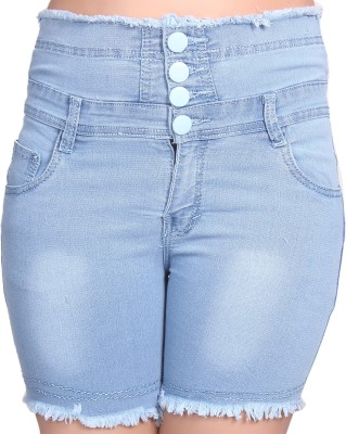 Nifty Solid Men's Denim Light Blue Denim Shorts