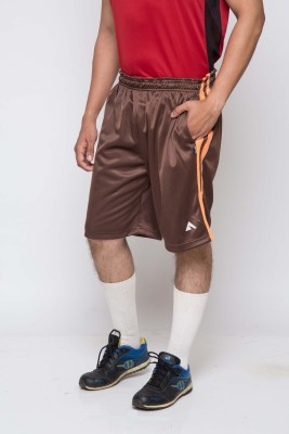 Acetone Solid Mens Brown, Orange Running Shorts
