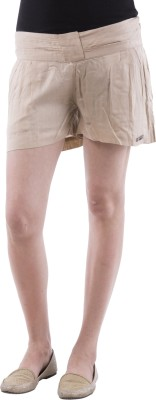 Aarr Solid Women's Beige Basic Shorts