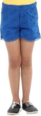 Oxolloxo Solid Girl's Blue Basic Shorts