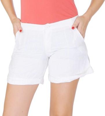 Lyla Embroidered Women's White Basic Shorts