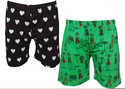 Little Star Printed Girl's Multicolor Basic Shorts