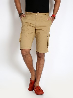 Rodid Solid Men's Beige Cargo Shorts