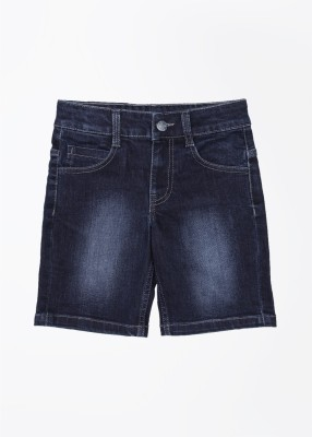 United Colors of Benetton Self Design Baby Boy's Dark Blue Denim Shorts