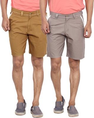 Calloway Solid Men's Grey, Beige Basic Shorts