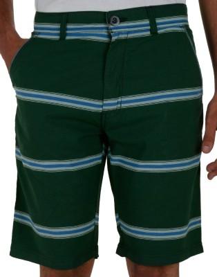 Faraday Striped Men's Green Basic Shorts