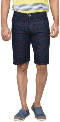 Clickroo Printed Men's Blue Denim Shorts