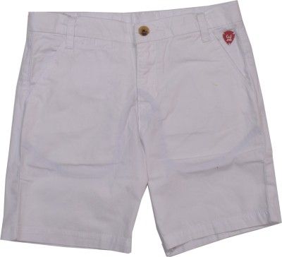 GJ Jeans Unltd Solid Girl's White Basic Shorts