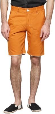 Haute Couture Solid Men,s Orange Chino Shorts