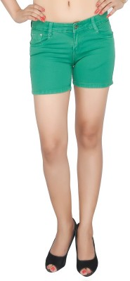 Present Jeans Solid Women's Green Denim Shorts