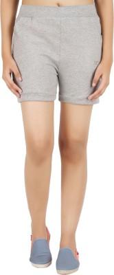 NOTYETbyus Solid Women's Grey Basic Shorts