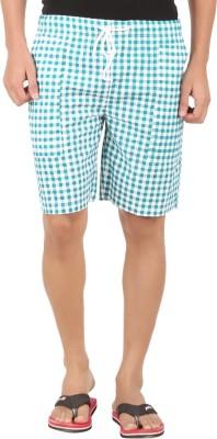M Tex Checkered Men's Green Basic Shorts