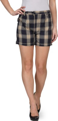 Fashionwalk Checkered Women's Black Basic Shorts