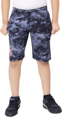 Red Ring Printed Boys Blue Boxer Shorts