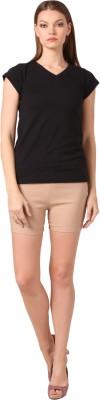 Vostro Moda Solid Women's Beige Basic Shorts