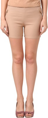 Pretty Angel Solid Women's Beige Basic Shorts