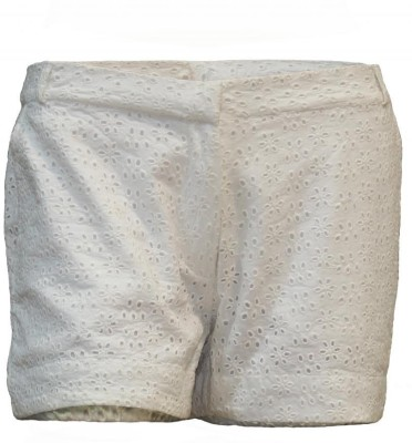 Attuendo Embroidered Women's White Hotpants