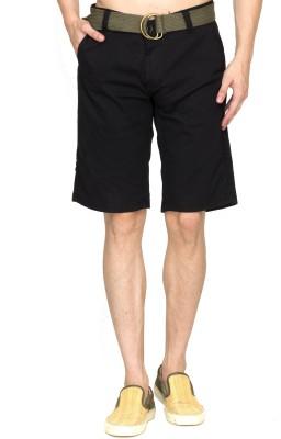 Sokool Solid Men's Black Chino Shorts
