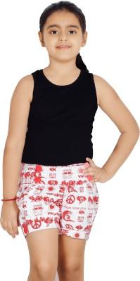 Naughty Ninos Printed Girl's Red, White Basic Shorts