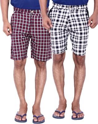 Calloway Checkered Men's Black, Grey, White Basic Shorts