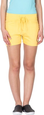 Lovable Solid Women's Yellow Basic Shorts