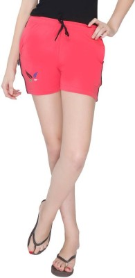 Red Ring Solid Women's Red Night Shorts