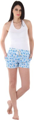 Private Lives Printed Women's Light Blue Night Shorts