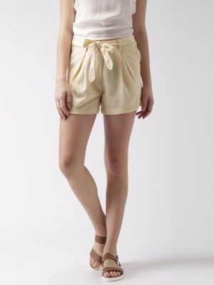 Mast & Harbour Solid Women's Beige Basic Shorts at flipkart