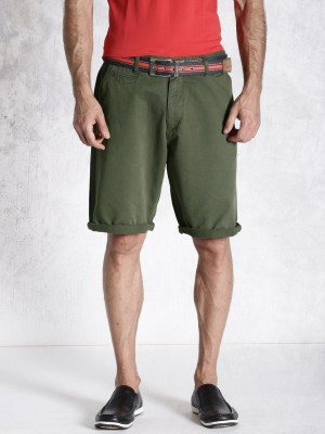 Roadster Solid Men's Green Basic Shorts
