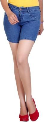 F Fashion Stylus Solid Women's Blue Denim Shorts