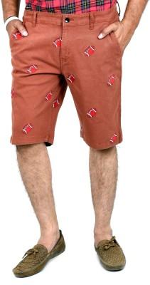 Indigen Embroidered Men's Brown Chino Shorts