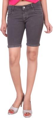 Airways Solid Women's Grey Denim Shorts