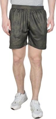 Creez Printed Men's Dark Green Sports Shorts