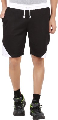 Checker S Bay Solid Men's Black Sports Shorts