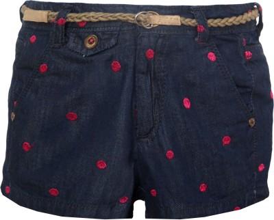 Vitamins Embroidered Girl,s Pink Denim Shorts