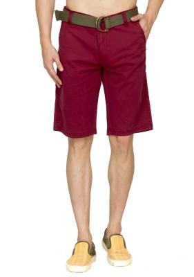 Sokool Solid Men's Maroon Chino Shorts