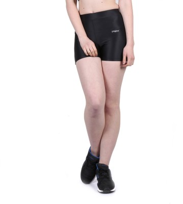 Yogue Printed Women's Black Gym Shorts
