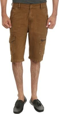 Fever Solid Men's Beige Denim Shorts