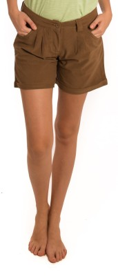 Bombay High Solid Women's Brown Basic Shorts
