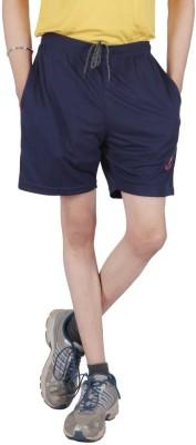 Awack Solid Men's Dark Blue Sports Shorts