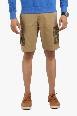 Global Nomad Solid Men's Beige Cargo Shorts